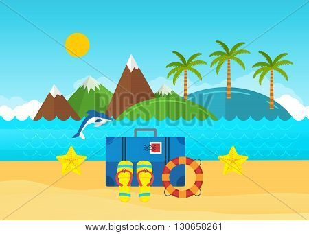 Beach summer landscape. Summer holidays, relax and tourism. Baggage with travel icons and objects with sea on tropical background.  Vacation, relaxation, ocean, sun, palms. Vector flat illustration