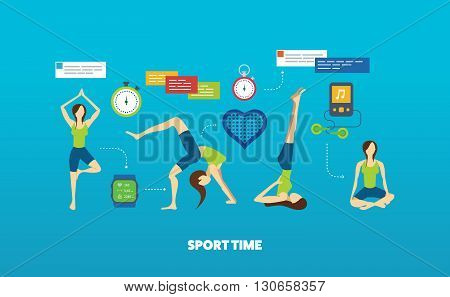 Modern flat vector icons of healthy lifestyle, fitness and physical activity. Yoga classes. Yoga exercises. Wellness icons for website and mobile application