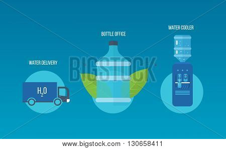 Water cooler. Bottle office, plastic and liquid. Water extraction. Water delivery. Vector illustration