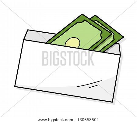 Money In An Envelope, a hand drawn vector illustration of money inside a white envelope.