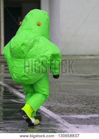 Man With Protective Suit Against Biological Risk