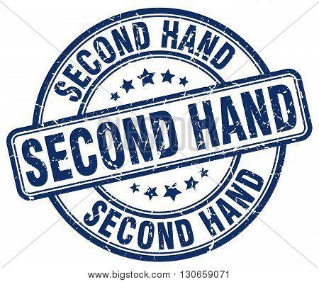 second hand blue grunge round vintage rubber stamp