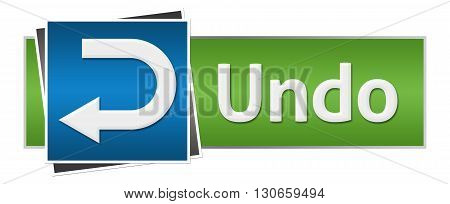 Undo concept image with text and symbol over green blue background.