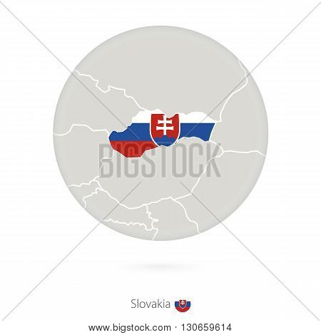 Map Of Slovakia And National Flag In A Circle.