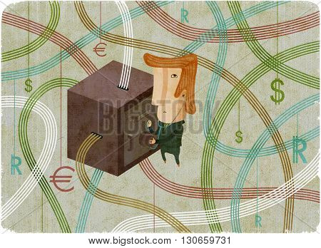 Thief with stethoscope hacks virtual bank safe. Money sign flying in the air. Creative cartoon illustration.