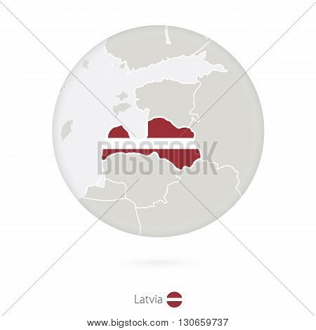 Map Of Latvia And National Flag In A Circle.