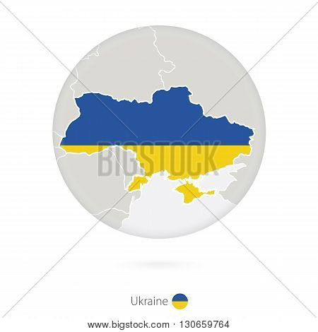 Map Of Ukraine And National Flag In A Circle.