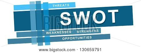SWOT - Strengths Weaknesses Opportunities Threats concept image with text over blue background.