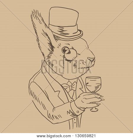 Lineart Portrait of Dandy Squirrel in monocle with Glass of Wine. Sophisticated animal. Squirrel in a suit dressed in Vintage Style, Retro Chic