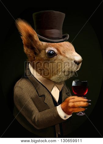Colored Portrait of Dandy Squirrel with Glass of Wine and Silk Hat. Sophisticated animal. Intelligent Squirrel in a suit in Vintage Style, Retro Chic. T-shirt print