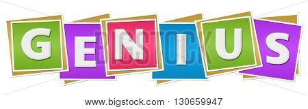Genius text alphabets written over colorful background.