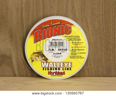Spencer Wisconsin May 21 2016 Spool of Bionic Walleye Fishing Line Bionic is a product of Northland Fishing Tackle an American based company