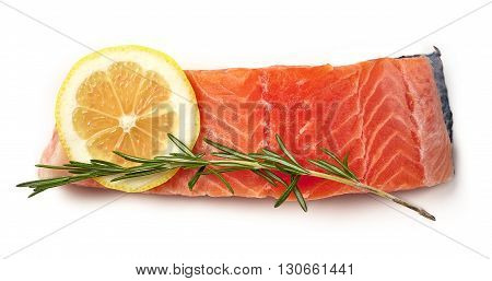 Fresh Raw Salmon Fillet With Lemon And Rosemary Isolated On White, From Above