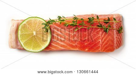 Fresh Raw Salmon Fillet With Lime And Thyme Isolated On White, From Above