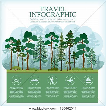 Traveling infographic with forest landscape. Vacation and Outdoor Recreation. Coniferous pine forest. Recreation in nature. Vector illustration.