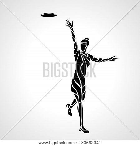 Female player is throwing flying disc. Silhouette of disc golf player. Vector lineart illustration