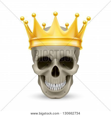Golden crown on the skull isolated on white