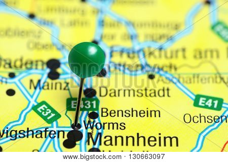 Worms pinned on a map of Germany