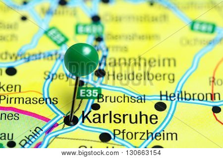 Karlsruhe pinned on a map of Germany