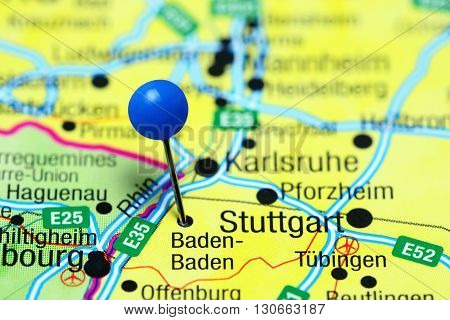 Baden-Baden pinned on a map of Germany