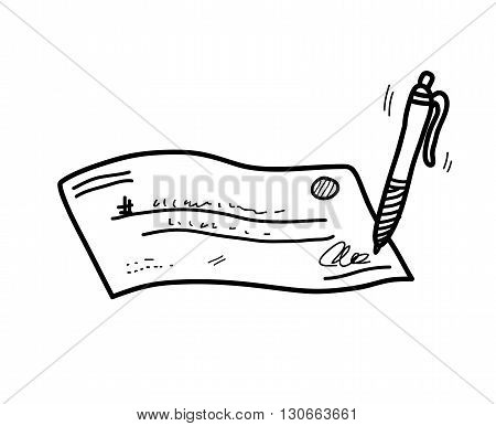 Cheque/Check Doodle, a hand drawn vector doodle illustration of a signed cheque/check.