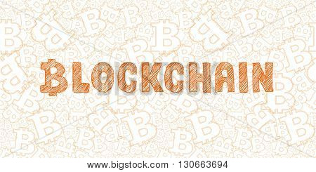Bitcoin Symbol And Word Blockchain On Orange Background