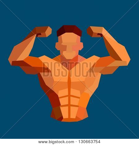 Polygonal colored vector bodybuilder logo. Sportsman shows his biceps. Fitness gym label
