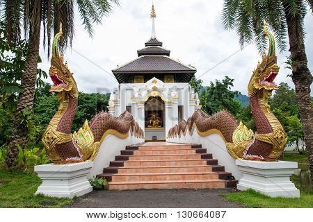 Nagas stairs of temple in Chiang Mai north of Thailand.