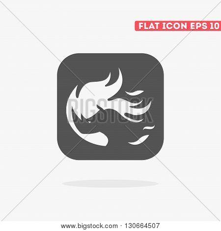 Flat fire beast icon. Vector animal icon. Animal icon. Fire beast. Logo animal