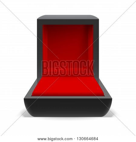 Open box for jewelry with a red interior on a white background
