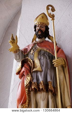 KLEINOSTHEIM, GERMANY - JUNE 08: Statue of Saint in the Saint Lawrence church in Kleinostheim, Germany on June 08, 2015.