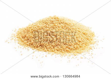 raw couscous closeup isolated white on white