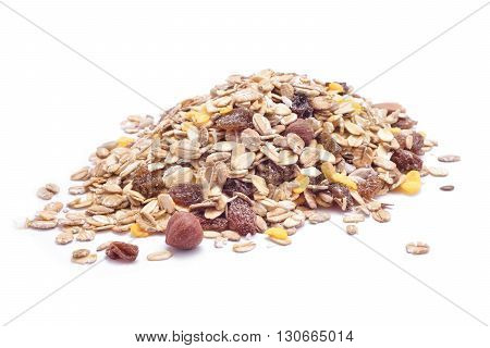nuts mix oat cereals isolated on white