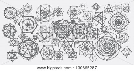 Sacred geometry mandalas background. Sacred symbols. Mandalas set. Gray color.