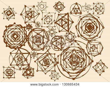 Sacred geometry symbols and elements background. Cosmic universe big bang alchemy religion philosophy astrology science physics chemistry and spirituality themes. Brown color