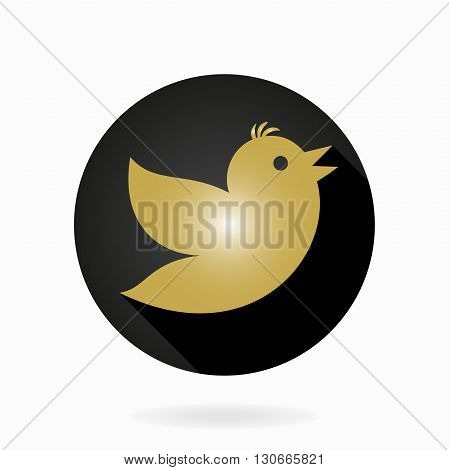 Fine vector icon with golden flying bird in the circle. Flat design with long shadow
