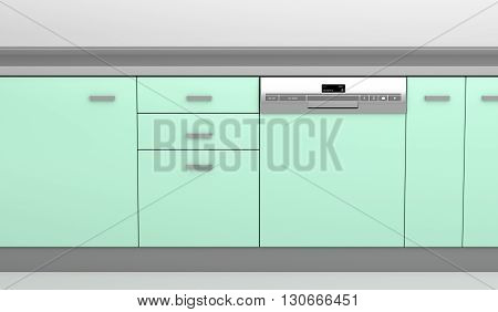 Integrated dishwasher in the kitchen, 3D illustration
