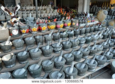 Angsila Thailand - April 4 2016 : Stone mortar Shop in Angsila city Stone mortar is Angsila's famous product