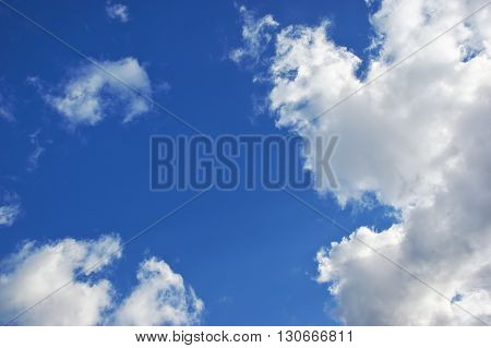Deep blue sky at sunny day. Sky background