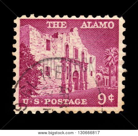 UNITED STATES OF AMERICA - CIRCA 1956: a stamp printed in the United States of America shows The Alamo mission, the place of pivotal event in the Texas Revolution 1836, circa 1956