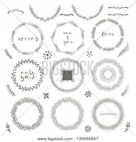 Vector floral hand drawn design elements set.