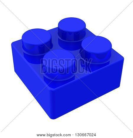 Blue detail of children's designer. Isolated. 3D Illustration