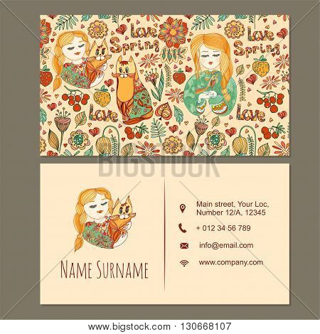 Visiting Card, Business Card Template With Cute Hand Drawn Floral Pattern.  Cafe Or Boutique Brandin