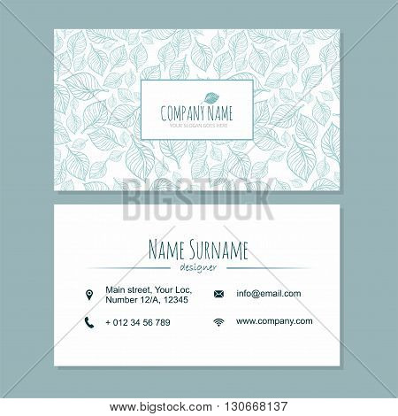 Visiting Card Businesscard Template With Cute Hand Drawn Pattern. Cafe Or Boutique Branding Elements