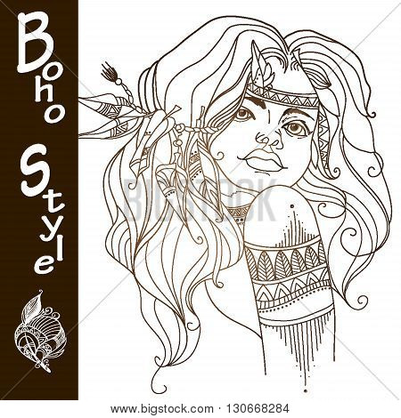 Girl in the style of boho. Indian woman with traditional make up and in chief headdress looking to the side. Boho style fashion girl. Coloring page. Vector