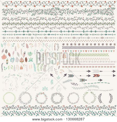 Hand drawn vintage leaves arrows feathers wreaths dividers ornaments and floral decorative elements vector illustration