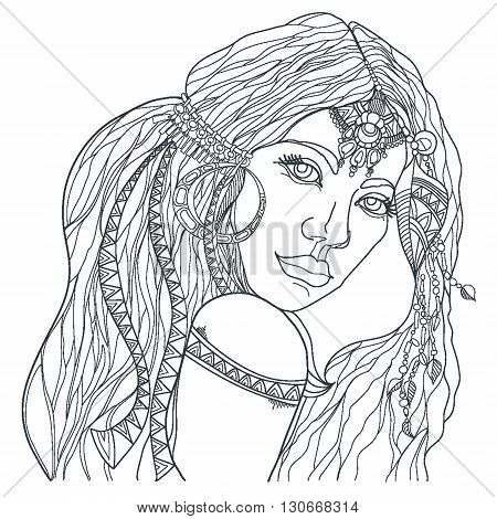 Boho style fashion girl. Coloring page. Vector