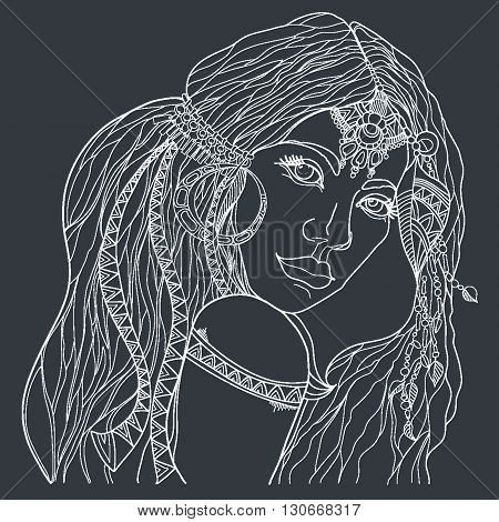 Indian woman with traditional make up and in chief headdress looking to the side. Boho style fashion girl. Coloring page. Vector
