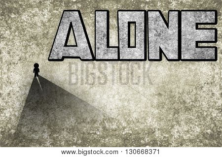 art black small man and grunge alone text illustration background