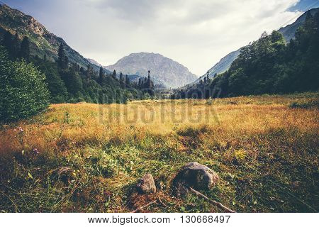 Mountains and forest valley idyllic Landscape in Abkhazia with cloudy sky Summer Travel serene scenic view